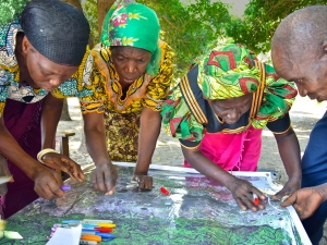 Picture 1. Participatory mapping activity with community leaders from Nalitoya, Zambia. Photo by Trinidad del Rio.